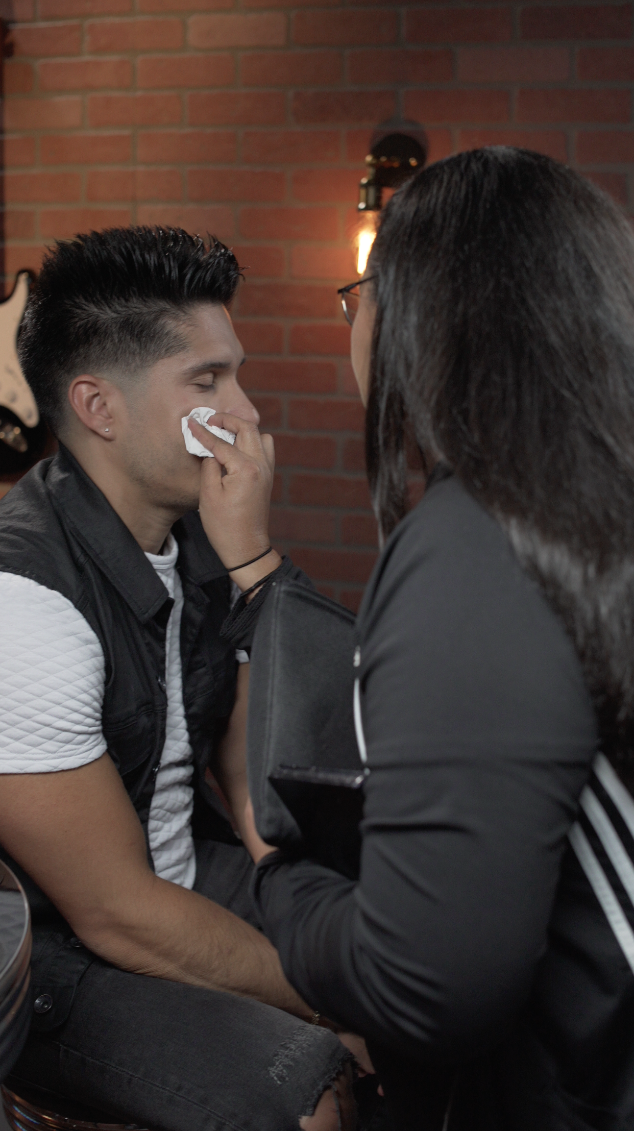 Makeup Artist Karla Fuenmayor on set with  Chyno Miranda